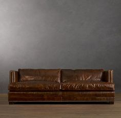 "Long leather sofa | Long, deep leather sofa from Restoration Hardware. 96"" Easton Leather ..."