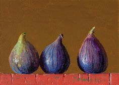 Daily painting, a painting a day, contemporary still life landscape small work of art by Youqing Eugene Wang, Y. Fig Fruit, Fruit And Veg, Still Life 2, Be Still, Watercolor Fruit, Food Painting, Painting Still Life, Flower Art, Salads