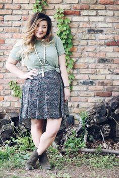 LuLaRoe Patrick Tee over a LuLaRoe Carly Dress with Renee Frye Booties! Plus Little Mama Jewels tassel necklace! Perfection!