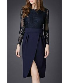 Graceful Round Collar Lace Spliced Long Sleeve Dress For Women. FREE  SHIPPING Cheap Maxi Dresses 85d1cc535685