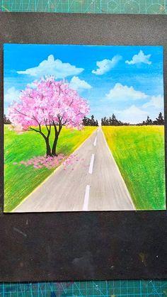 Art Drawings Beautiful, Art Drawings For Kids, Art Drawings Sketches Simple, Scenery Drawing For Kids, Simple Canvas Paintings, Small Canvas Art, Diy Canvas Art, Oil Pastel Paintings, Art Painting Gallery