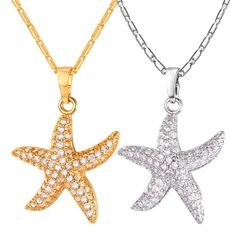 Crystal Starfish Pendant Necklace Cubic Zirconia 18k Gold Plated Sea Star Jewelry For Women Gift
