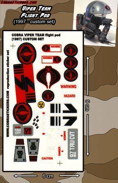 Viper Team Flight Pod (1997 - Custom) cobra replacement stickers customs restoration action figure vehicles