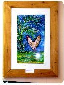 "Original artwork entitled ""Marquetta's Rooster"". Indigo Dye, Batik on Rice paper with real Cedar frame. Find this and more at Ultimate Gullah: http://shop.ultimategullah.com/product.sc?productId=2=6"