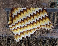 Grandma Spiked My Ripple Blanket is a granny ripple blanket with a spike stitch added to add texture and density.