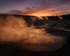 Heart Spring and Lion Group Geysers at sunset Upper Geyser Basin Yellowstone National Park Wyoming   Photo by Ian Plant . . . . . . . . . . . #photograph  #photographer #travelmore #exploremore #openmyworld #dreamscape #outdoorphotography #outdoor #photos #photography #landscape #landscapephotography #landscapelovers #landscape_lovers #yellowstone #geyser