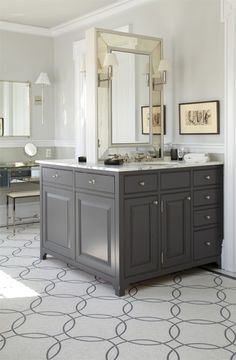 back to back vanities.  so smart for space reasons and for giving everyone their own space!