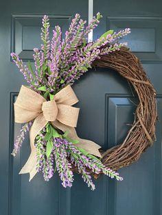 Lavender spring or summer grapevine wreath, everyday wreath, rustic spring wreath, farmhouse style W Diy Wreath, Door Wreaths, Grapevine Wreath, Yarn Wreaths, Ribbon Wreaths, Tulle Wreath, Floral Wreaths, Burlap Wreaths, Wreath Ideas