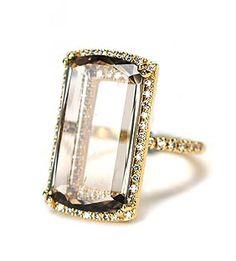 Fabulous Suzanne Kalan Ring. Make your #valentine's heart stip a beat - Vitrine Collection - Yellow Gold - Smokey Quartz
