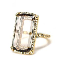 Fabulous Suzanne Kalan Ring. Make your #valentine's heart stip a beat - Vitrine Collection - Yellow Gold - Smokey Quartz