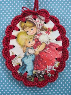 Recycled Vintage Illustration Sibling Love  Crochet by ShoeFlower