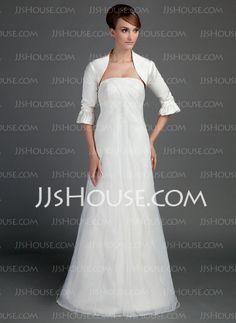 Wedding Dresses - $142.99 - A-Line/Princess Strapless Sweep Train Organza Satin Wedding Dress With Ruffle (002015714) http://jjshouse.com/A-Line-Princess-Strapless-Sweep-Train-Organza-Satin-Wedding-Dress-With-Ruffle-002015714-g15714