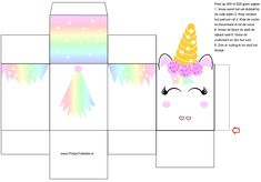 19 Ideas decorativas y souvenirs con moldes para tu fiesta de unicornios - jednorożcowy. Diy Unicorn, Unicorn Crafts, Diy Gift Box, Diy Box, Diy And Crafts, Crafts For Kids, Unicorns And Mermaids, Unicorn Birthday Parties, Paper Toys