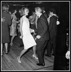 Jane Fonda photographed dancing the twist with a friend during a party in Paris, on September 04, 1963.