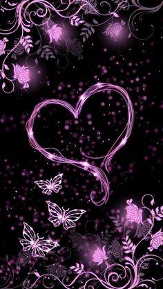 By Artist Unknown. Phone Screen Wallpaper, Heart Wallpaper, Butterfly Wallpaper, Cute Wallpaper Backgrounds, Butterfly Art, Love Wallpaper, Pretty Wallpapers, Cellphone Wallpaper, Galaxy Wallpaper