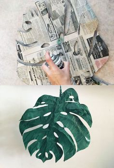 DIY paper mache palm leaves for seasonal DIY home decor on a budget or fun tropical summer party decorations. Add a touch of tropics to a room or themed party with these floral wire and paper mache palm leaves. Paper Mache Flowers, Paper Mache Tree, Paper Mache Diy, Paper Mache Paste, Diy Paper, Paper Art, Paper Crafts, Diy Crafts, Paper Clay