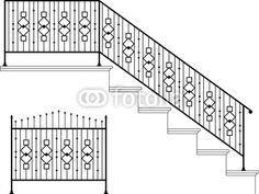 "Wall Mural ""metal, vector, window - wrought iron stairs railing, gate, picket"" ✓ Easy Installation ✓ 365 Day Money Back Guarantee ✓ Browse other patterns from this collection!"