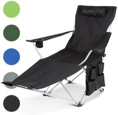 Black Portable Steel Frame Recliner Camping Chair Outdoor Fishing Camping  NEW