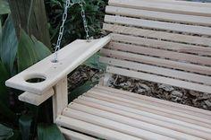 5 Foot Cypress Handmade Porch Swing Swings Wood Wooden W/ Cupholders