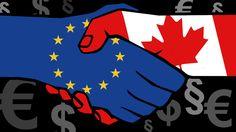 Illustration: Shakehands zwischen Europa und Kanada, im Hintergrund Zeichen für Dollar, Euro und Paragrafen | Bild: colourbox.com, BR, Montage: BR