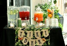 VIntage Luau Bridal Shower | CatchMyParty.com Drink Idea - fruit juice and add your own rum!