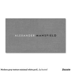 Modern gray texture minimal white professional Double-Sided standard business cards (Pack of 100)