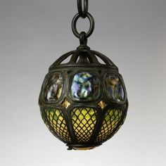 Tiffany Studios Turtleback Globe Light Fixture from Laurelton Hall circa 1905 Stained Glass Lamps, Leaded Glass, Globe Light Fixture, Art Nouveau, Louis Comfort Tiffany, Tiffany Lamps, Bubble, Antique Lamps, Antique Furniture