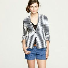 J.Crew Maritime Striped Blazer Like new condition!  Must-have blazer of the season, crafted in a heavyweight slub cotton with see-worthy yarn-dyed stripes for a hint of Parisian polish. It's an easy yet elegant fit and feel of the fabric, which holds its shape just beautifully. Pair it with jeans or shorts for a look that's tre's jolie. - Heavyweight slub cotton - Fitted - Flap pockets - Back vent - Machine wash - Import J. Crew Jackets & Coats Blazers