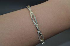 Pave Set Diamond Infinity Bangle Bracelet in 14k Yellow Gold (1.00ct) - Allurez.com