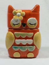 """Owl Biscuit or Cookie Jar Canister Hand Painted Ceramic 09755 OWL NEW 20cm or 8"""""""