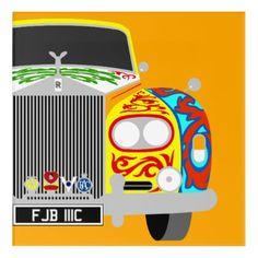 yellow Phantom V Gypsy Caravan classic car. Acrylic Wall Art - luxury gifts unique special diy cyo
