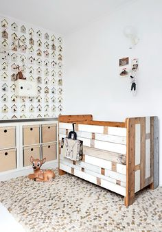 birdhouse wallpaper and reclaimed wood crib - so darling!