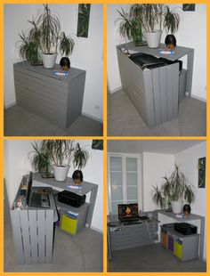 Bureau caché / Hidden desk this would also work great outside to hide trash cans Desk, DIY, Pallet - Home Decor Pin Hidden Desk, 1001 Pallets, Wood Pallets, Pallet Wood, Recycled Pallets, Recycled Wood, Pallet Furniture, Furniture Design, Pallet Desk