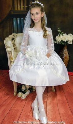 Long Sleeve First Communion Dress with Lace