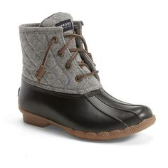 """Sperry 'Saltwater' Waterproof Rain Boot , 1"""" heel ($120) ❤ liked on Polyvore featuring shoes, boots, ankle booties, ankle boots, short heel boots, short boots, wellies boots and waterproof wellington boots"""