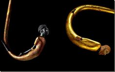 The king's enemy in his walking sticks from the Tomb of Tutankhamun Gilded and inlaid wooden with Asiatic and Negroid/Kushet captives - the king captured enemies. Between them Clearly man with beard is 'mesopotamian' and the 'negroid' from Kush, handcuffed from behind