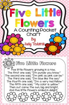 Five Little Flowers is a fun pocket chart activity to use to get ready for Spring. It is also great for young students as they learn their colors and the ordinal numbers (first, second, third, fourth, and fifth.) Just copy, cut, place in your pocket chart and it is ready to use.  There is also a page you can copy for your students so that they can continue to enjoy this poem even after you have put the poem away.