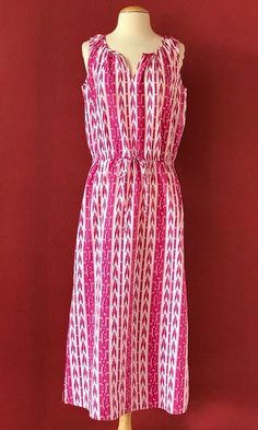 HAPPY By PINK CHICKEN Pink Print Cotton Woven Maxi Dress Size M #PinkChicken #Maxi #Casual
