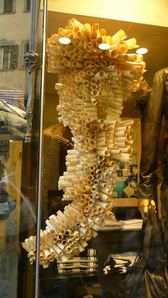 Florence shop window display made from rolled up pieces of paper.