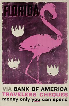 DP Vintage Posters - Bank of America Travelers Check Original Vintage Advertising Poster, Florida Flamingo