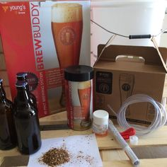 Brewbuddy Bitter starter kit, makes 40 pints of pub quality Bitter in only 3 weeks. All ingredients (except sugar) are included ,   INGREDIENTS Malted  Barley,  Water, Brewers Yeast See all allergies in  BOLD.    All equipment is included and is re-usable .   You will need bottles or a barrel to store and dispense your beer.    We can supply all you need , refills available