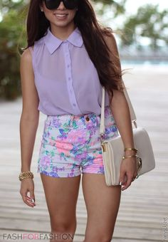 Lavender Floral Shorts - Lavender Top and Basic Accessories | Summer