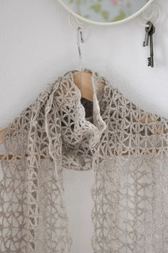 Lace Scarf Wool Oatmeal Chochet by woolnwhite on Etsy