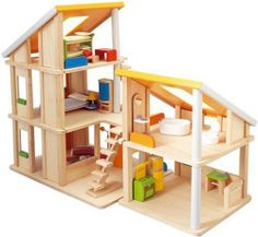 Plan Toy Chalet Doll House with Furniture by Plan Toys. $198.00. From the Manufacturer                Plan Toy Chalet Doll House with Furniture is a two piece dollhouse. The larger unit has three floors and the smaller unit with two floors. Units can be arranged and rearranged in various ways creating many house designs. This dollhouse has large skylights and comes with two movable staircases. The many open walls provide easy to access from every side. This set comes with five...