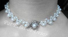 Collier tissé Fleur Argent 925, cristaux Swarovski via Eclat de tresor. Click on the image to see more!