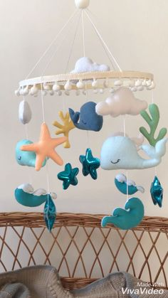 Look how wonderful this mobile is! Decor your baby crib with this nautical mobile and the sweetest dreams will come to you baby nurserydecor Sea Nursery, Whale Nursery, Nautical Nursery, Whale Mobile, Baby Crib Mobile, Baby Cribs, Boy Mobile, Felt Mobile, Baby Room Decor