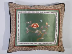 10 x 11 Chinese Silk Embroidery Pillow Asian Motif 1970s by 2lewa