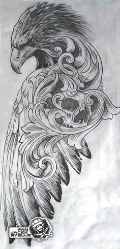 by PanJacekRysuje on DeviantArt tattoo tattoo tattoo design tattoo tattoo tattoo bird tattoo Tattoo Design Drawings, Skull Tattoo Design, Tattoo Sleeve Designs, Tattoo Sketches, Tattoo Designs Men, Sleeve Tattoos, Design Tattoos, Viking Tattoo Design, Schulterpanzer Tattoo