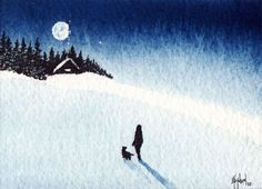 mini watercolor- winter scene