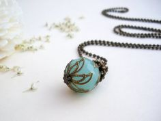 Lichen necklace  mint aqua green Czech glass pendant by GBILOBA, €15.00